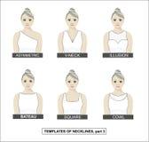 Placez de l'habillement des femmes, collection de coupes Femme avec un groupe sur sa t?te illustration stock