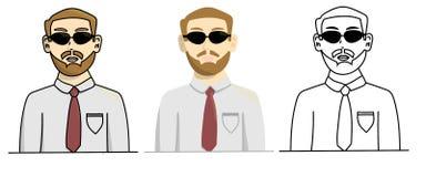 Placez de l'homme berded dans le style différent Illustration courante d'isolement de vecteur illustration stock