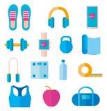 Placez de l'icône de l'équipement de forme physique : écouteurs, tapis de yoga, haltère, montre intelligente Vecteur dans le styl photographie stock