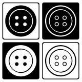Placez de l'icône ronde noire et blanche de boutons d'habillement Illustration de vecteur illustration de vecteur