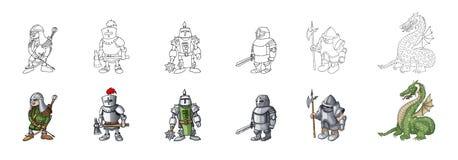 Placez de l'illustration médiévale de vecteur de style de bande dessinée de caractères de chevalier illustration libre de droits