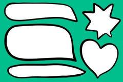 Placez de l'illustration tirée par la main de forme de la parole de coeur différent de bulles sur la police de turquoise illustration libre de droits