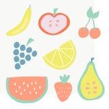 Placez de l'illustration de vecteur d'icônes de fruit d'été illustration stock