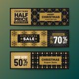 Placez de la bannière de Web de Noël de thème de couleur d'or photo libre de droits