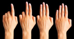 Placez de la femme que les mains comptent sur des doigts image libre de droits
