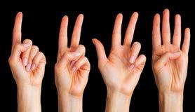 Placez de la femme que les mains comptent sur des doigts photo stock