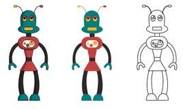 Placez de la fille de robot dans le style diff?rent Illustration courante d'isolement de vecteur illustration stock