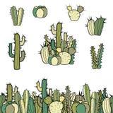 Placez de la frontière sans couture, du groupe et des différents types de cactus illustration libre de droits