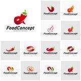 Placez de la nourriture chaude Logo Concept Vector r r illustration stock