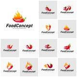 Placez de la nourriture chaude Logo Concept Vector r r illustration libre de droits