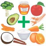 Placez de la nourriture saine pour la bonne digestion Repas suivant un régime illustration de vecteur
