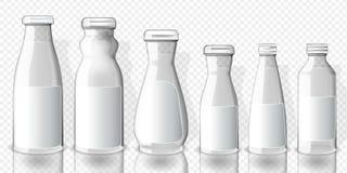 Placez de la pleine maquette de bouteilles de jus, sur le fond transparent illustration de vecteur