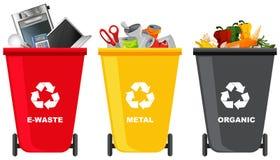 Placez de la poubelle différente illustration de vecteur