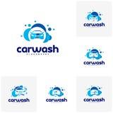 Placez de la station de lavage Logo Template Designs illustration stock