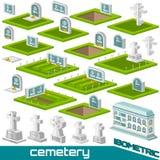 Placez de la tombe isométrique et croisez le style différent pour le vecteur de cimetière illustration stock