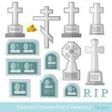Placez de la tombe plate et croisez le style différent pour le vecteur de cimetière illustration de vecteur
