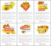 Placez de la vente méga Autumn Fall Price Off Coupons illustration de vecteur