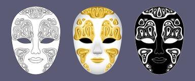 Placez de 3 masques vénitiens décorés de carnaval sur le fond gris illustration de vecteur