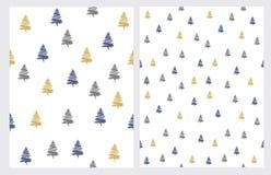 Placez de 2 modèles de vecteur d'arbre de Noël illustration de vecteur
