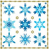 Placez de neuf flocons de neige d'isolement par vecteur d'isolement illustration stock