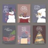Placez de six bannières de couleur avec la salutation de lettrage de brosse, le metteur en scène, l'ange, le traîneau, la lantern illustration libre de droits