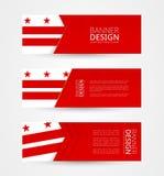 Placez de trois bannières horizontales avec le drapeau du District de Columbia Calibre de conception de bannière de Web en couleu illustration de vecteur