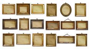 Placez de trois cadres en bois baroques d'or de cru sur le fond d'isolement images stock