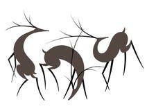 Placez de trois formes simples de cerfs communs dans le style plat Illustration de vecteur photographie stock
