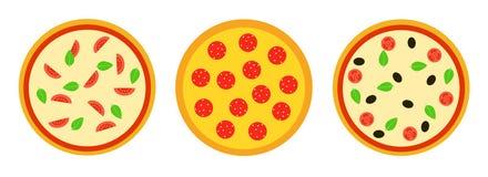 Placez de trois pizzas Illustration de vecteur dans le style plat images libres de droits