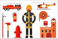 Placez des éléments de sapeur-pompier Pompier dans l'uniforme, hélicoptère, pompe à incendie, extincteur, hache, crochet, tuyau,  illustration de vecteur