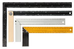 Placez des équerres de encadrement en acier d'isolement sur le fond blanc image libre de droits