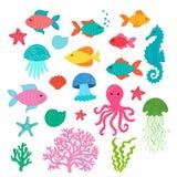 Placez des animaux de mer mignons tirés par la main : étoiles de mer, hippocampe, méduses, poissons, coquilles, corail, algues, p illustration de vecteur