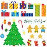 Placez des arbres de décoration-Noël de Noël, jouets de Noël illustration stock