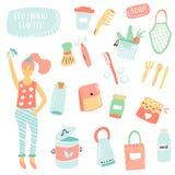 Placez des articles pour la vie de rebut zéro plastique gratuit illustration libre de droits