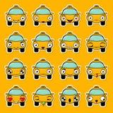 Placez des autocollants sous forme de taxi de bande dessinée avec différentes émotions Conception drôle de vecteur de voiture Élé illustration stock