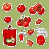 Placez des autocollants des tomates et de l'objet tiré par la main différent illustration libre de droits