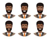 Placez des avatars des hommes exprimant de diverses émotions : joie, tristesse, rire, larmes, colère, dégoût, cri illustration de vecteur