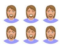 Placez des avatars des hommes exprimant de diverses émotions : joie, tristesse, rire, larmes, colère, dégoût, cri illustration libre de droits