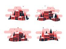 Placez des bâtiments et de la maison plats de conception illustration stock