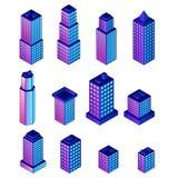 Placez des bâtiments résidentiels de ville de vecteur pour la conception plate d'innovation isométrique illustration libre de droits
