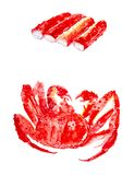 Placez des b?tons de crabe et du limule rouge cuit Illustrations d'aquarelle d'isolement sur le fond blanc illustration stock