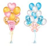 Placez des ballons mignons pour la fête de naissance Empreintes de pas de bébé, bébé garçon, tétine de bébé, ballons de coeur et  illustration libre de droits
