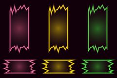 Placez des bannières au néon lumineuses géométriques créatives de vecteur sur le fond noir illustration stock