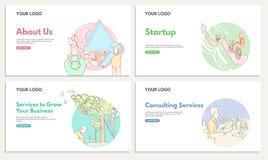 Placez des bannières commerciales de Web pour la consultation et le service de démarrage Services pour élever vos affaires startu illustration de vecteur