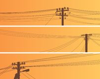 Placez des bannières des poteaux de ligne électrique au coucher du soleil illustration stock