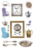 Placez des beaux articles antiques, cadres de tableau, meubles, plats r?tro cru D'isolement sur le fond blanc images libres de droits