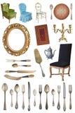 Placez des beaux articles antiques, cadres de tableau, meubles, plats r?tro cru D'isolement sur le fond blanc photographie stock libre de droits