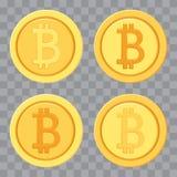 Placez des bitcoins d'or Ic?ne d'argent Illustration de vecteur illustration stock