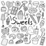 Placez des bonbons tirés par la main à griffonnage illustration libre de droits