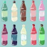 Placez des bouteilles lumineuses avec du jus, sirop Conteneurs en verre photographie stock libre de droits